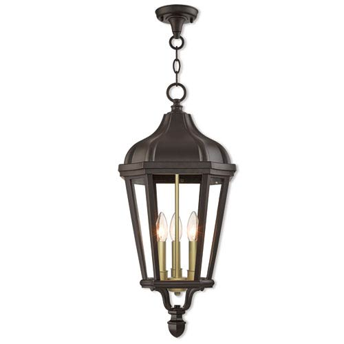 Livex Lighting Morgan Bronze 11-Inch Three-Light Outdoor Pendant Lantern