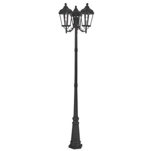 Livex Lighting Morgan Textured Black 26-Inch Three-Light Outdoor Post Light