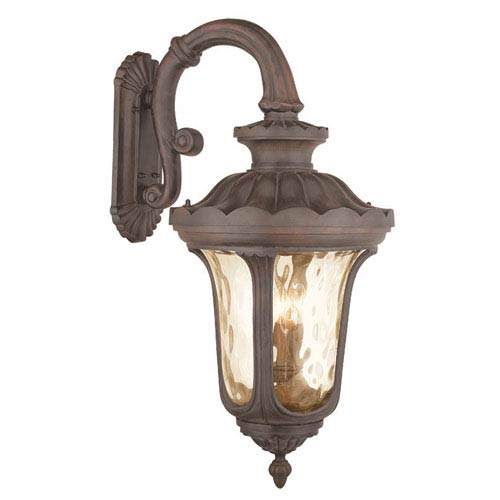 Oxford Imperial Bronze 17-Inch Four-Light Outdoor Wall Lantern with Top Arm