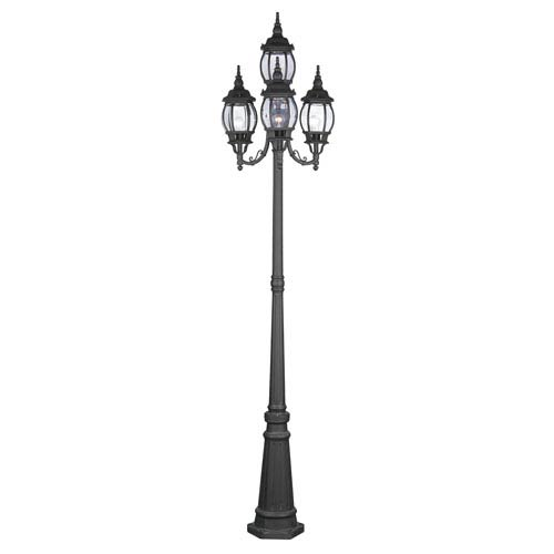 Livex Lighting Frontenac Black Four Light Outdoor Lantern Post