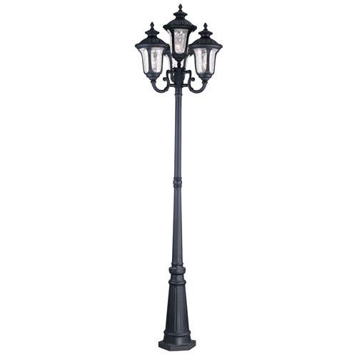 Livex Lighting Oxford Black Four Light 93-Inch Outdoor Four Head Post