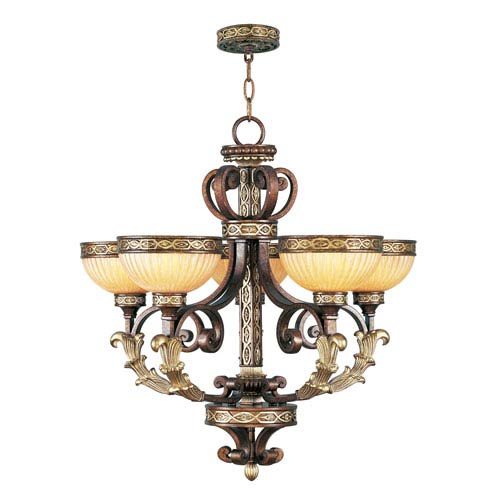 Seville Palacial Bronze with Gilded Accents Five-Light Chandelier