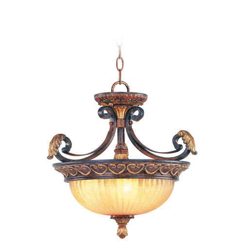 Villa Verona Bronze Three-Light Ceiling Mount/Chain Hung Fixture