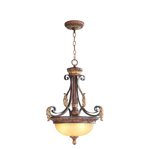 Villa Verona Bronze Three-Light Inverted Pendant Fixture