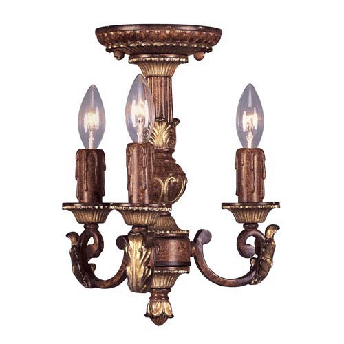 Villa Verona Verona Bronze with Aged Gold Leaf Accents Three-Light Mini Chandelier