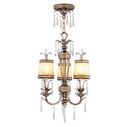 La Bella Vintage Gold Leaf Three-Light Ceiling Mount/Chain Hung Fixture