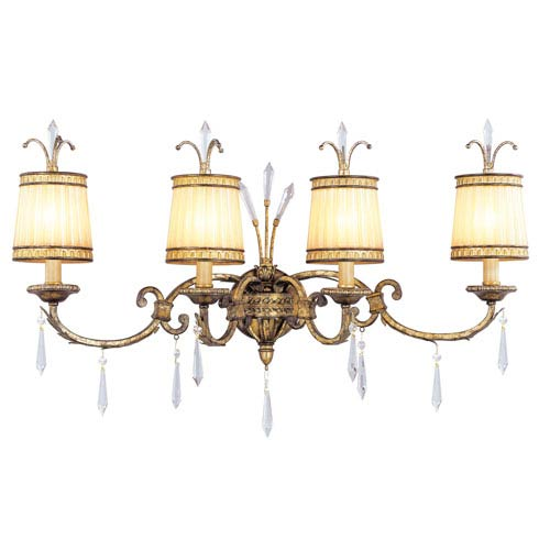 La Bella Vintage Gold Leaf Four-Light Bath Fixture