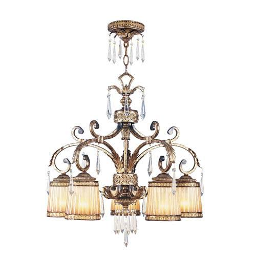 La Bella Vintage Gold Leaf Five-Light Chandelier