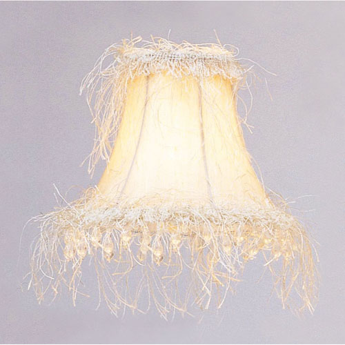 Chandelier shades on sale bellacor off white silk bell clip chandelier shade w corn silk fringe beads aloadofball Choice Image
