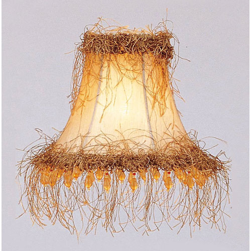 Champagne Silk Bell Clip Chandelier Shade w/ Light Corn Silk Fringe & Beads