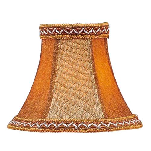 Livex Lighting Tan/Brown Suede Bell Clip Chandelier Shade w/ Fancy Trim