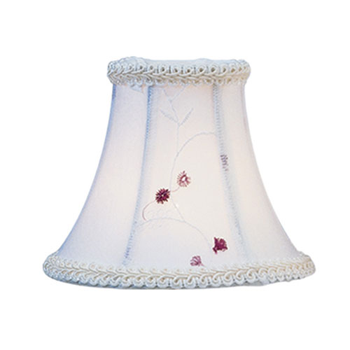 White Embroidered Floral Silk Bell Clip Chandelier Shade