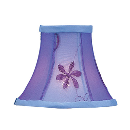 Livex Lighting Violet Embroidered Floral Silk Bell Clip Chandelier Shade
