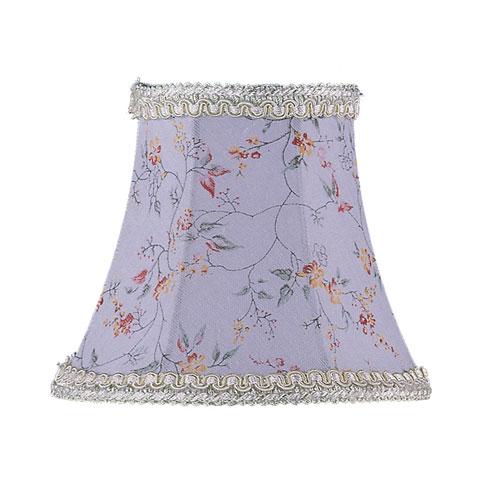 Sky Blue Floral Print Bell Clip Chandelier Shade w/ Fancy Trim