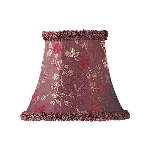 Livex Lighting Burgundy Floral Print Bell Clip Chandelier Shade w/ Fancy Trim