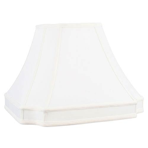 White 7-Inch Round Cut Corner Shantung Silk Shade
