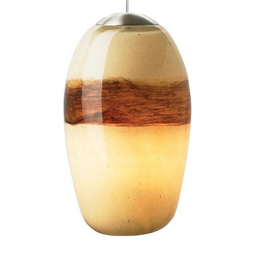 Emi Satin Nickel One-Light Mini Pendant with Ivory/Brown Glass