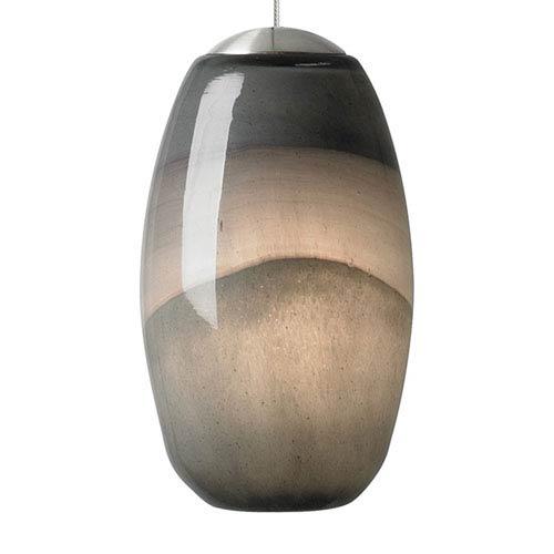 Emi Satin Nickel One-Light Mini Pendant with Gray/Dark Purple Glass