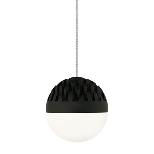 Sphere Satin Nickel and Rubberized Black Low Voltage LED Mini Pendant