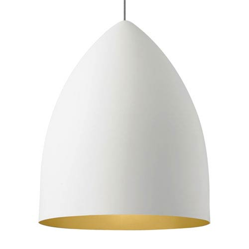 LBL Lighting Signal Grande Rubberized White and Gold Fluorescent Pendant