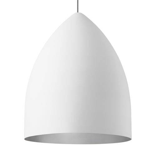 LBL Lighting Signal Grande Rubberized White and Platinum Fluorescent Pendant