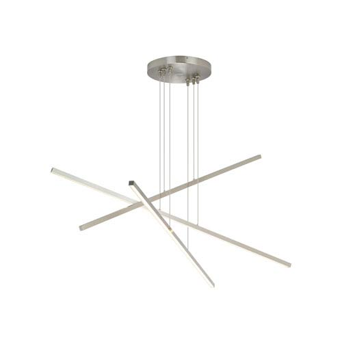 LBL Lighting Essence Satin Nickel 1-Inch LED Trio Linear Pendant