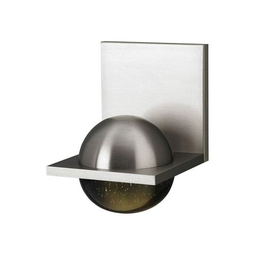 Sphere Satin Nickel LED Wall Sconce with Cast Smoke Glass
