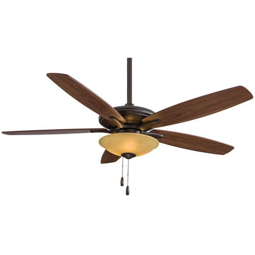 Minka Aire Mojo 52-Inch Ceiling Fan in Oil Rubbed Bronze with Tea Stain Glass and Five Reversible Walnut Blades