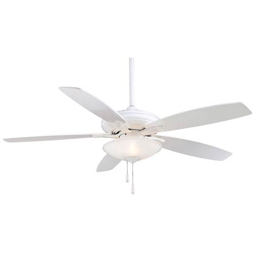 Minka Aire Mojo 52-Inch Ceiling Fan in White with Frosted White Glass and Five Blades