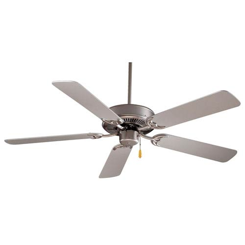 Contractor 42-Inch Ceiling Fan in Brushed Steel with Five Silver Blades