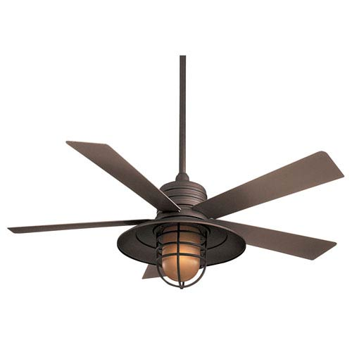 Minka Aire Rainman Oil Rubbed Bronze 54 Inch Blade Indoor Outdoor Ceiling Fan For Wet Locations