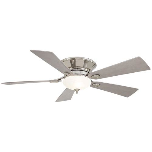 Delano II 52-Inch Flush Mount Ceiling Fan in Polished Nickel with White Frosted Glass and Five Blades