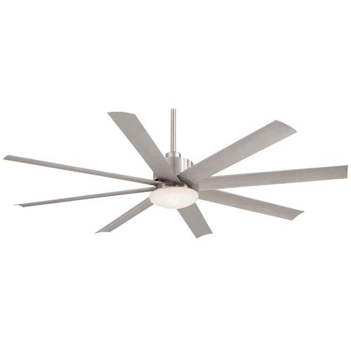 Slipstream 65-Inch Ceiling Fan in Brushed Nickel with Etched Opal Glass and Eight Blades