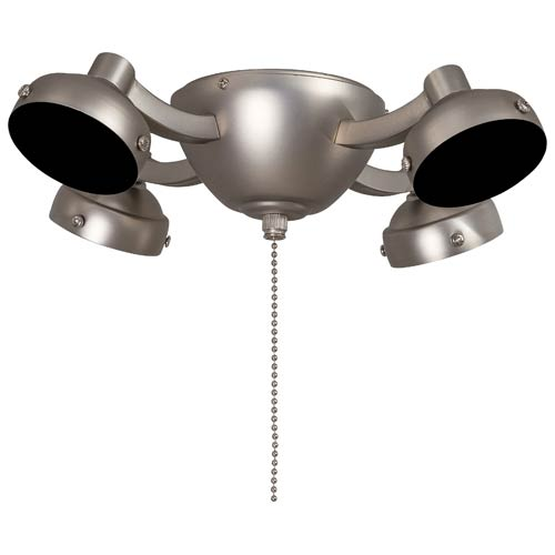 Brushed Steel Four Light Fluorescent Ceiling Fan Light Kit