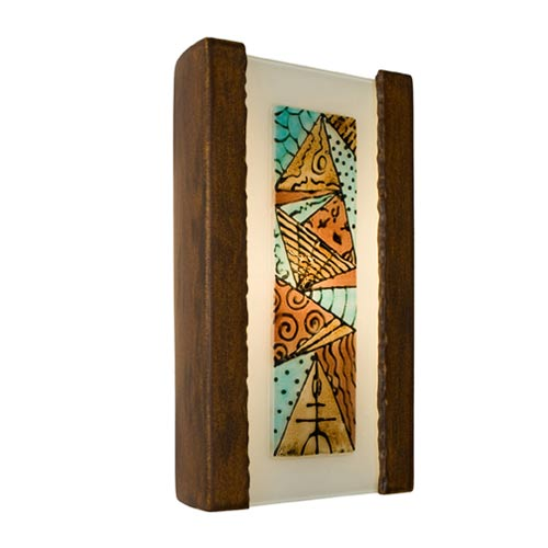 Abstract Butternut and Multi Turquoise Sconce