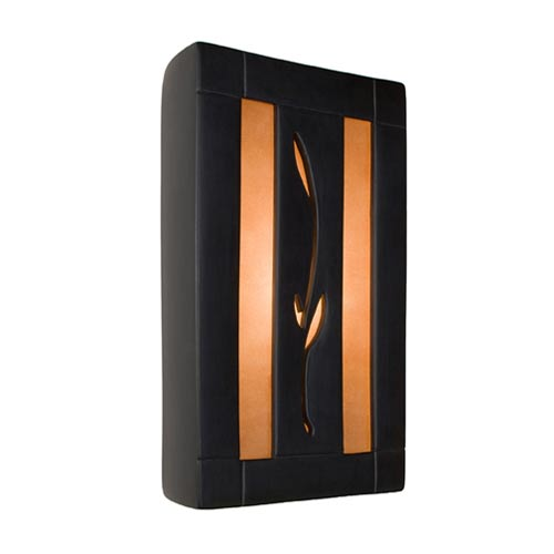 Spring Matte Black and Rosewood Sconce