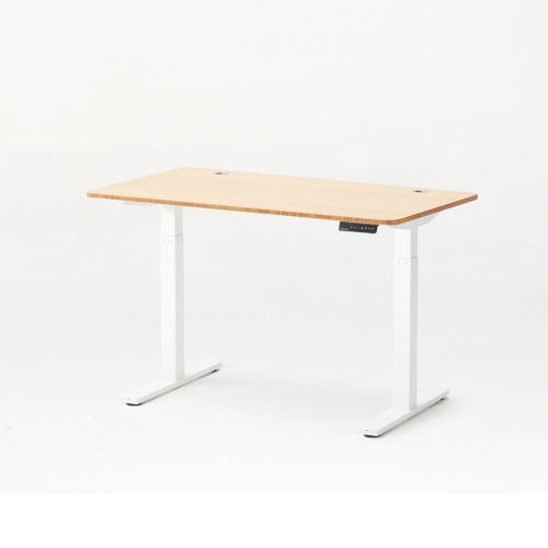 Autonomous White Frame Bamboo Classic Top Adjustable Height Standing Desk