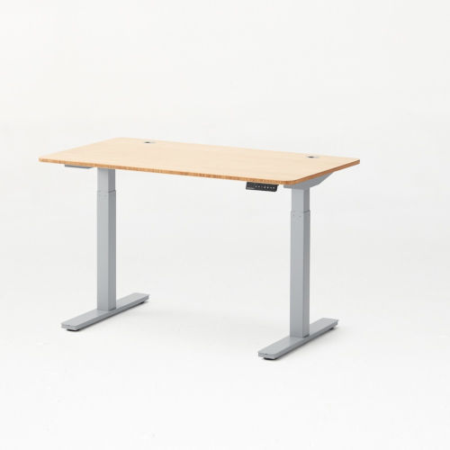 Autonomous Grey Frame Bamboo Classic Top Adjustable Height Standing Desk