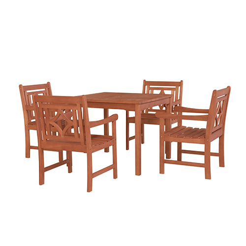 Malibu Brown 5-piece Patio Stacking Table Dining Set with Four Diamond Chairs