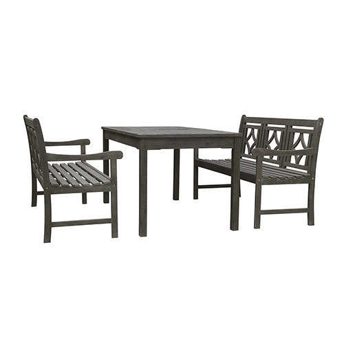 Renaissance Grey 3-piece Wood Patio Rectangular Table Diamond Dining Set with Two 57-Inch Benches