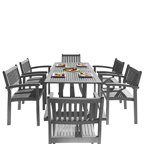 Renaissance Hand-scraped Wood Outdoor Patio Dining Set with Stacking Chairs, 7-Piece
