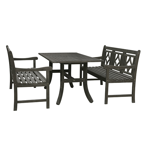 Renaissance Grey 3-piece Wood Patio Curvy Legs Table Diamond Dining Set with Two 57-Inch Benches