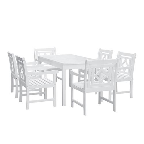 Bradley White 7-piece Wood Patio Rectangular Table Dining Set