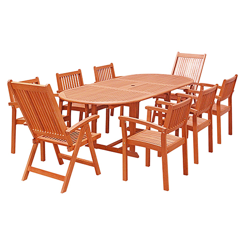 Awesome Vifah Manufacturing Company Malibu Outdoor 9 Piece Wood Patio Dining Set With Extension Table Stacking Chairs And Reclining Chairs Cjindustries Chair Design For Home Cjindustriesco