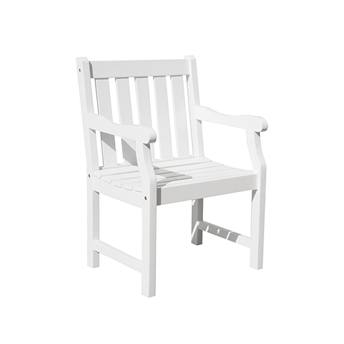 Vifah Manufacturing Company Bradley Eco Friendly Outdoor White Wood Garden Arm Chair