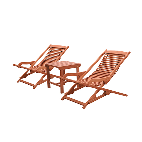 Malibu Natural Wood Outdoor Patio Chaise Lounge Set, 3-Piece