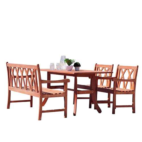 VIFAH Manufacturing Company Malibu Outdoor 4-piece Wood Patio Dining Set with Curvy Leg Table and 4-foot Bench