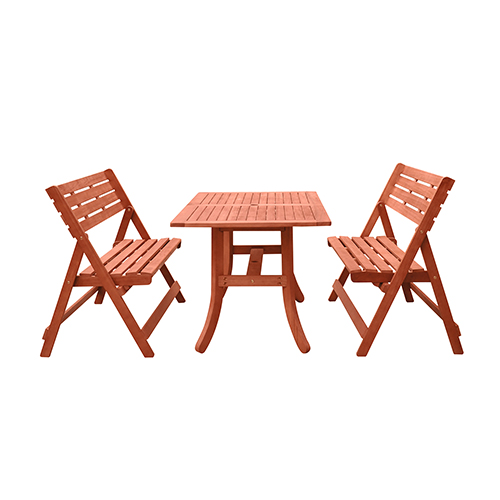 Malibu Natural Wood Outdoor Patio Dining Set with Folding Bench, 3-Piece
