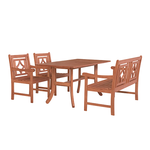 Superb Malibu Brown 4 Piece Patio Dining Set With Curvy Leg Table Two Diamond Chairs And One 48 Inch Bench Gamerscity Chair Design For Home Gamerscityorg