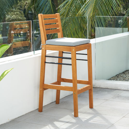 Gloucester Natural Wood Patio Bar Chair